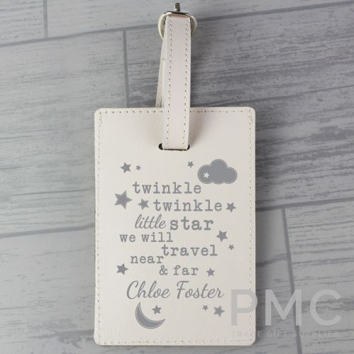 Personalised Twinkle Twinkle Cream Luggage Tag