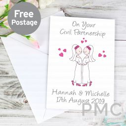 Personalised Cartoon Female Partnership Card