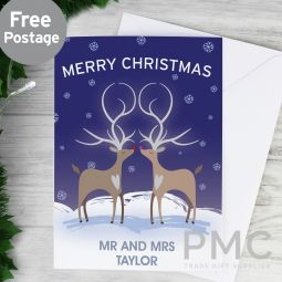Personalised Reindeer Couple Card