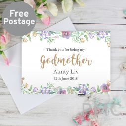 Personalised Godmother 'Floral Watercolour' Card