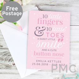 Personalised '10 Little Fingers' Pink Baby Card