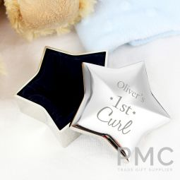 Personalised 1st Curl Star Trinket Box