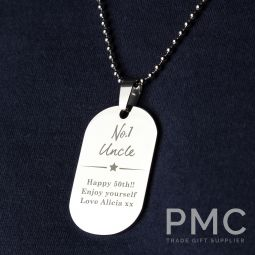 Personalised No.1 Stainless Steel Dog Tag Necklace