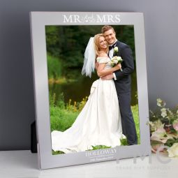 Personalised Mr & Mrs 10x8 Silver Photo Frame