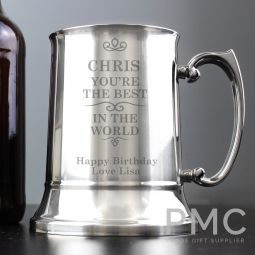 Personalised Best in the World Stainless Steel Tankard