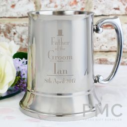 Personalised Decorative Wedding Father of the Groom Stainless Steel Tankard