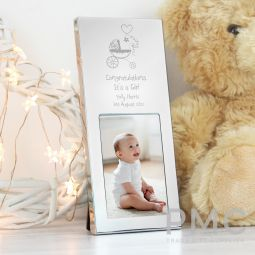 Personalised Pram Small 3x2 Silver Photo Frame