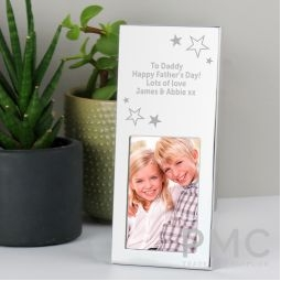 Personalised Stars Small 3x2 Silver Photo Frame