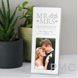 Personalised Small Mr & Mrs 3x2 Silver Photo Frame