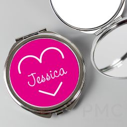 Personalised Pink Name Island Compact Mirror
