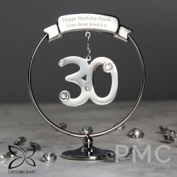 Personalised Crystocraft 30th Celebration Ornament