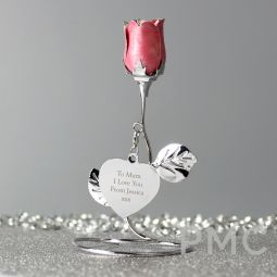 Personalised Free Text Pink Rose Bud Ornament