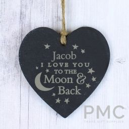 Personalised To the Moon and Back... Small Slate Heart