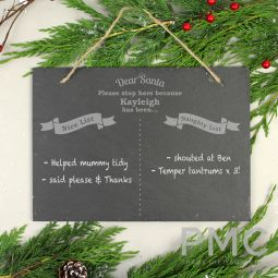 Personalised Christmas Naughty & Nice Hanging Large Slate Sign