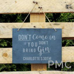 Personalised Gin Large Hanging Slate Sign