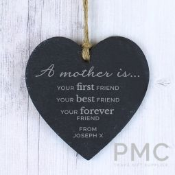 Personalised 'A Mother Is' Large Slate Heart Decoration