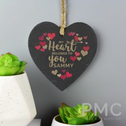 Personalised 'My Heart Belongs To You' Confetti Hearts Printed Slate Heart Decoration