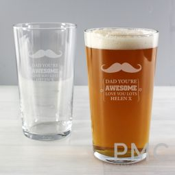 Personalised Moustache Pint Glass