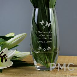 Personalised Butterflies and Flowers Bullet Vase