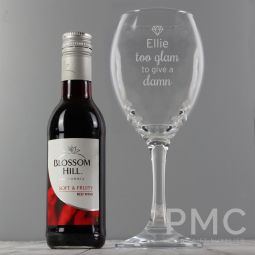 Personalised Red Wine & 'Too Glam to Give a Damn' Wine Glass Set