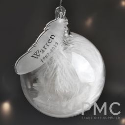Personalised Name & Date Feather Glass Bauble