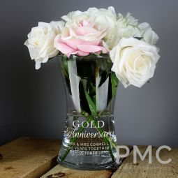 Personalised 'Gold Anniversary' Glass Vase