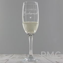 Personalised Bridesmaid Flute Glass