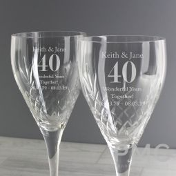 Personalised Anniversary Pair of Crystal Wine Glasses