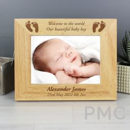 Personalised Baby Feet 7x5 Landscape Wooden Photo Frame
