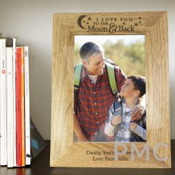 Personalised To the Moon and Back... 7x5 Wooden Photo Frame