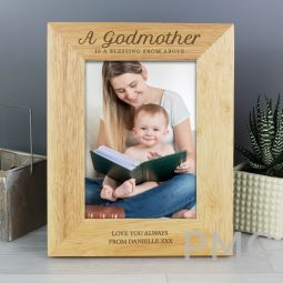 Personalised Godmother 7x5 Wooden Photo Frame