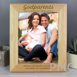 Personalised Godparents 10x8 Wooden Photo Frame
