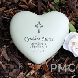 Personalised Cross Heart Memorial