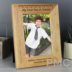 Personalised My First Day at School 7x5 Wooden Photo Frame