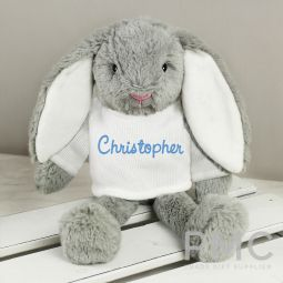 Personalised Name Only Bunny Rabbit In Cream Jumper- Blue Embroidery