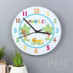 Personalised Animal Alphabet Boys Clock