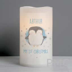 Personalised 1st Christmas Penguin LED Candle
