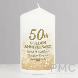 Personalised 50th Golden Anniversary Pillar Candle