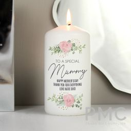 Personalised Abstract Rose Pillar Candle