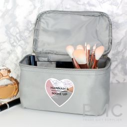 Personalised Geometric Grey Vanity Bag
