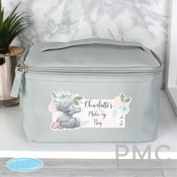 Personalised Me to You Floral Grey Make Up Wash Bag