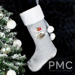 Personalised Rocking Horse Luxury Silver Stocking