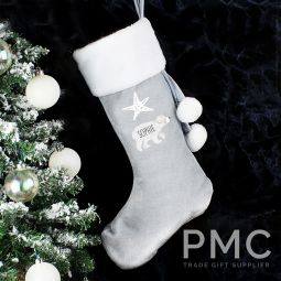Personalised Baby Polar Bear Luxury Silver Stocking