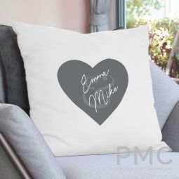 Personalised Couples Heart Cushion Cover
