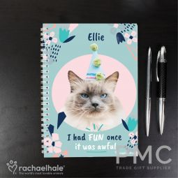 Personalised Rachael Hale 'I Had Fun Once' Cat A5 Notebook