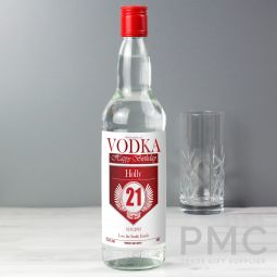 Personalised Birthday Red & Silver Vodka