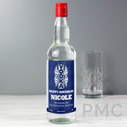 Personalised Blue & Silver Stripe Vodka