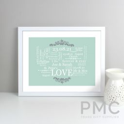 Personalised Wedding Typographic Art White Framed Print