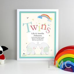 Personalised Hessian Elephant Twins White Framed Print