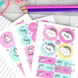 Personalised Baby Unicorn Sticker Set